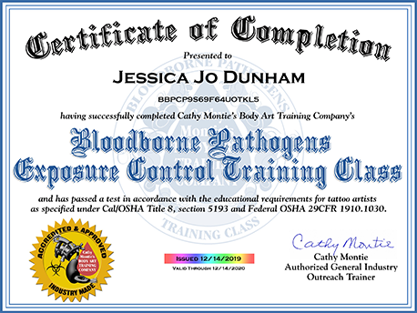 Copy of Bloodbourne Pathogens Certificate